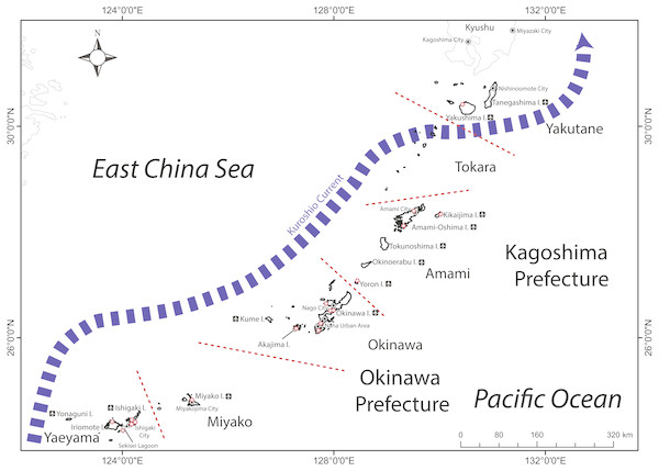 Map of the Ryukyu Islands (RYS) with sub-regions examined in this study, and relevant geographic features and research institutions (red stars).