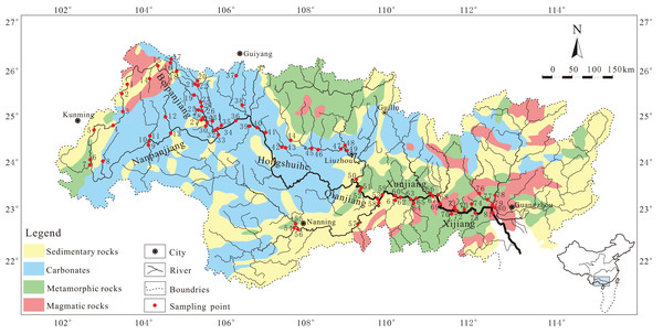 Sketch map showing the lithology and sampling locations of the Zhujiang River system.