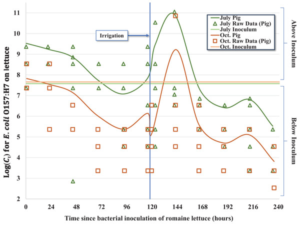 Regression model for the inactivation rate of E. coli O157:H7 in pig fecal slurry on romaine lettuce grown in central coastal California during two 10-day field trials occurring in 2012, holding leaf wetness constant using the median values of 33% and 32% for the July–Aug. and Oct. trials, respectively.