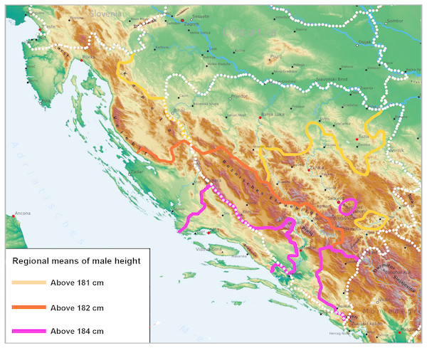 Regional means of male height on the Adriatic coast of Croatia and in Bosnia and Herzegovina (according to the self-reported place of residence) projected against the physical map of the Western Balkans.