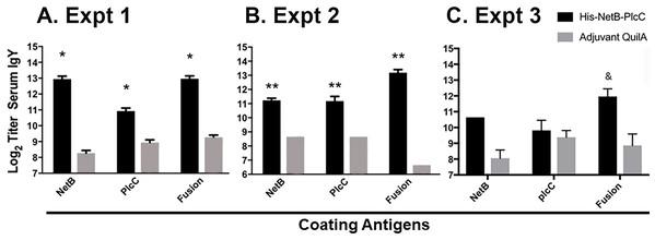 IgY serum titers from immunized and non-immunized birds, assayed against NetB, PlcC, or NetB-PlcC fusion.