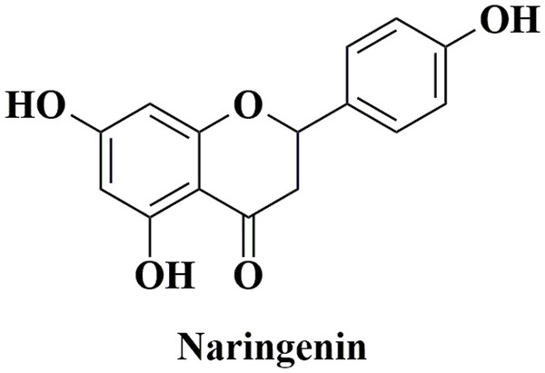 The structure of naringenin.