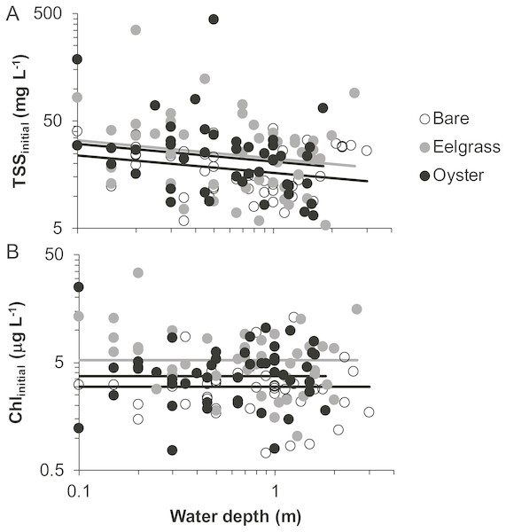 Water properties at the initiation of each drift when water was at different depths over three intertidal habitat types at five sites in Washington State, USA.