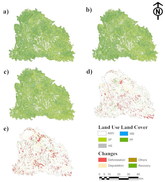 Land use/land cover of 1990 (A), 2005 (B), 2017 (C), changes during 1990–2005 (D) and changes during 2005–2017. Abbreviations: AWV, areas without vegetation; SF, secondary forest; WB, water bodies; HS, human settlements and PF, primary forest.