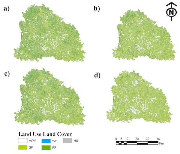 (A) Land use/land cover of 2017 and simulated land use/land cover projected for the year 2050 as a result of the (B) Stationary, (C) Pessimistic and (D) Optimistic scenarios. Abbreviations: AWV, areas without vegetation; SF, secondary forest; WB, water bodies.