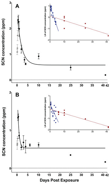 Depuration curves for plasma SCN concentration in Amphiprion ocellaris after exposure to 50 ppm cyanide (CN) for (A) 45 s and (B) 20 s.