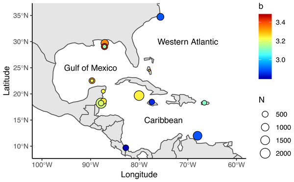 Locations where allometric growth parameters of lionfish (Pterois spp) have been reported.