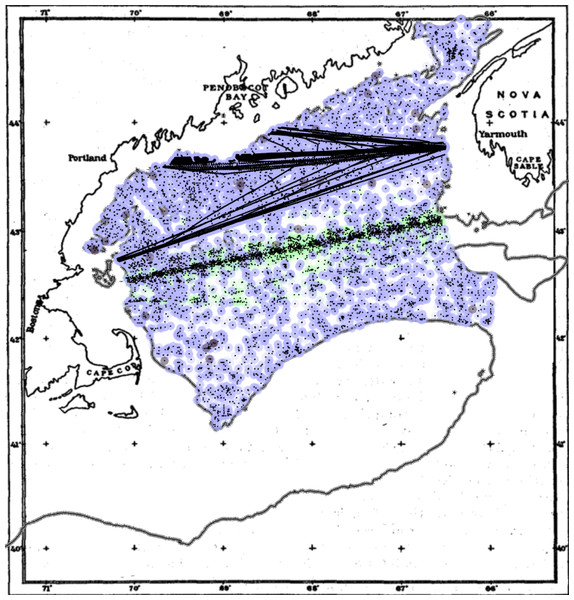 Sample locations for the compiled phytoplankton dataset in the inner Gulf of Maine.