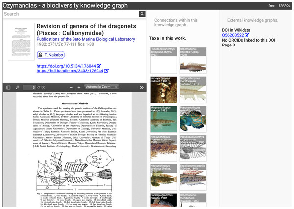 Web interface to Ozymandias knowledge graph displaying information for an article.