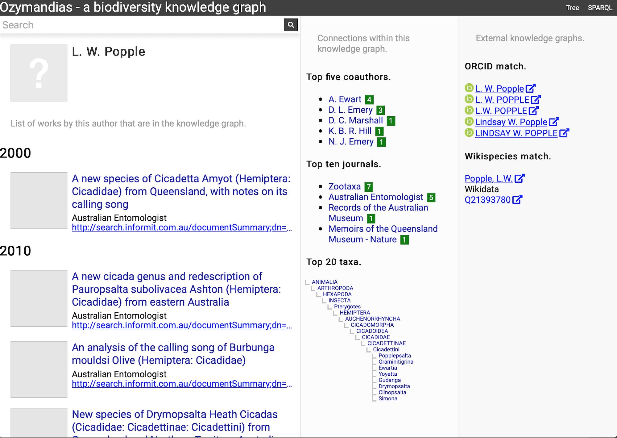 Ozymandias: a biodiversity knowledge graph [PeerJ]