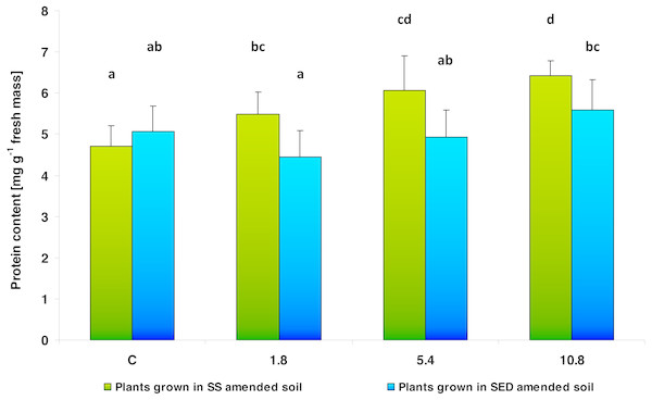 Soluble protein content in control cucumber leaves and in leaves of plants grown on soil amended with SS from LM WWTP (green bars) or SED from SSBS (blue bars) at different doses after five weeks of cultivation.