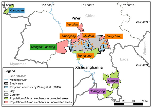 The study area and distribution range of Asian elephants in China.