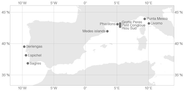 Sampling sites of the red gorgonian (Paramuricea clavata) populations in the Atlantic Ocean and the Mediterranean Sea.