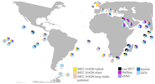 VirION-derived viral genomes from the Western English Channel are abundant in global marine viromes.