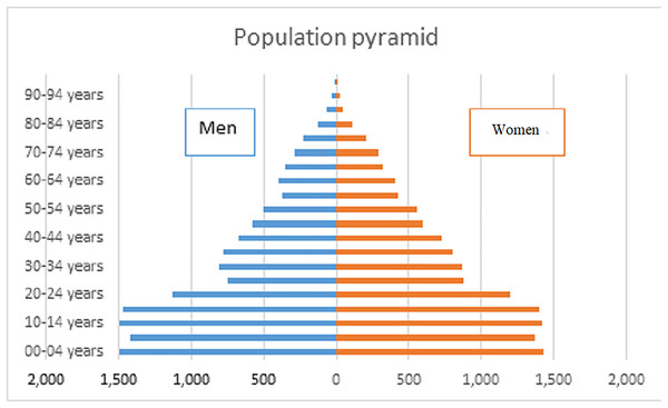 Population pyramid of the Laguna de Santiaguillo basin.