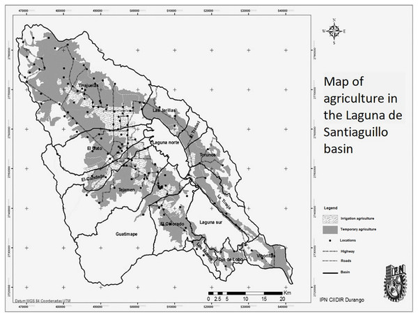 Land use for agriculture in the sub-basin.