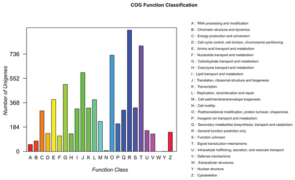 COG function classification of assembled unigenes.