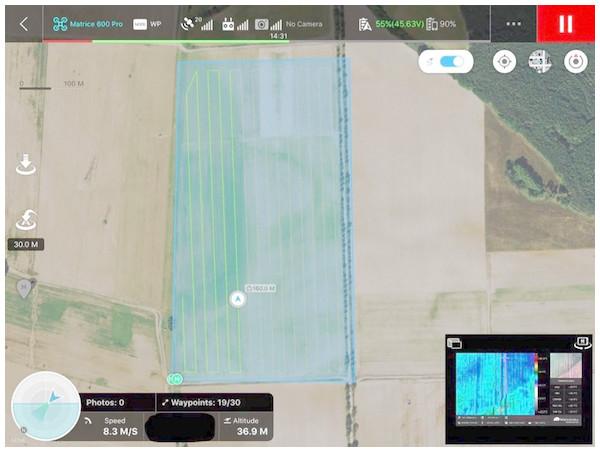 Example of UAV DJI M600Pro flight plan programmed in DJI Ground Station App—illustrative image.