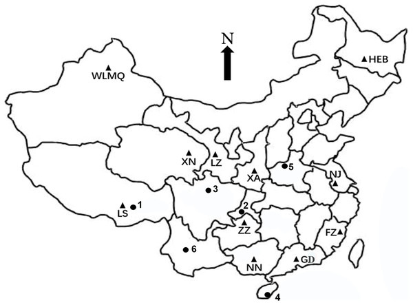 Distribution map of the collection locations of rhesus macaque fecal samples.