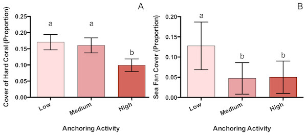 Hard coral and sea fan cover differ across a gradient of anchoring activity.