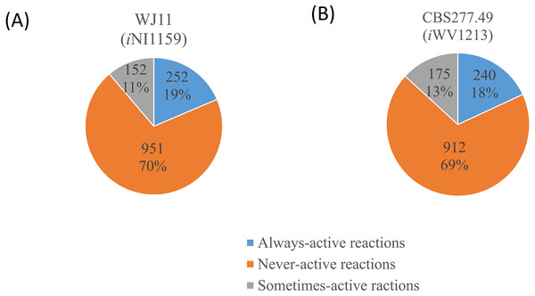 Three different categories and distributions of always-active reactions, sometimes-active reactions and never-active reactions between two M. circinelloides strains identified by fastFVA.