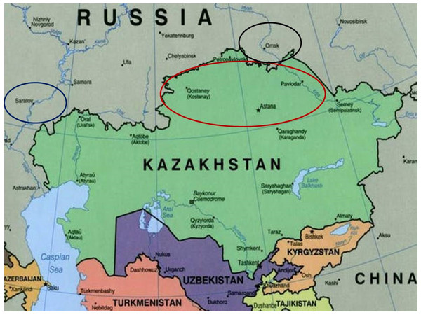 A map of Kazakhstan and nearby regions of Russia.