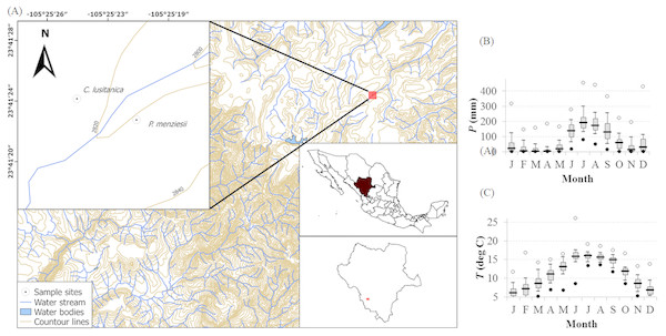 Study site location and local climate diagram.