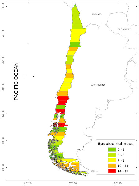 Spatial distribution of species richness for freshwater mollusk in latitudinal bands of 1°.