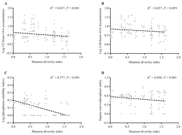 Linear regression analysis between the Shannon diversity index of each A. adenophora and their reNFB growth-promoting product productivity.