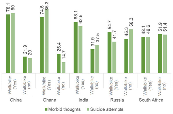 Prevalence of suicidal thoughts and suicide attempts stratified by patterns of walking/biking.