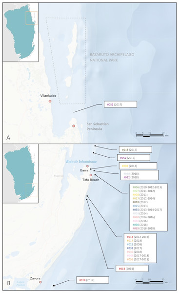 M. microps re-sighting records between 2003 and 2018 along Inhambane Province coastline.