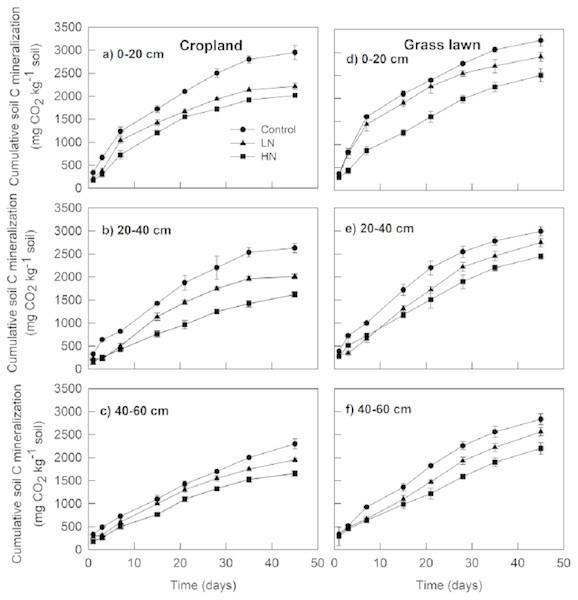 Effects of nitrogen (N) addition on cumulative soil C mineralization (mg C-CO2 kg−1 soil).
