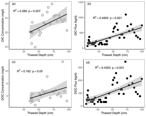 Relationships between active layer thawed depths and riverine dissolved carbon concentrations and fluxes during the thawing period in Catchment 3.