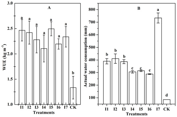 The WUE and water consumption of different treatments (P < 0.05).