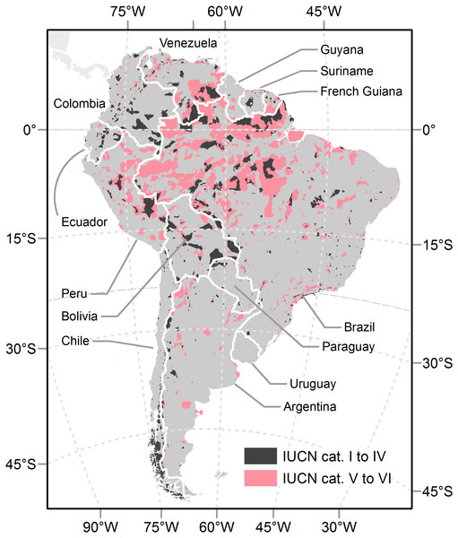 Protected areas in South America.