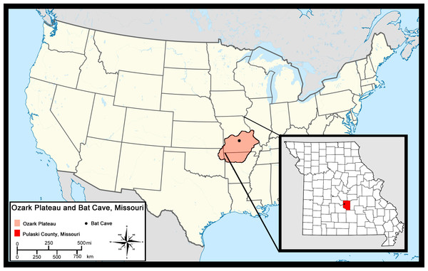 Location of Bat Cave in relation to the Ozark Plateau and Pulaski County, Missouri.