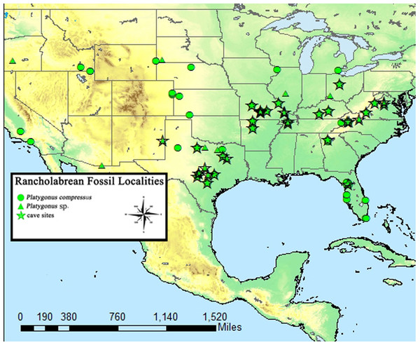 Known Rancholabrean sites which yielded Platygonus fossils.