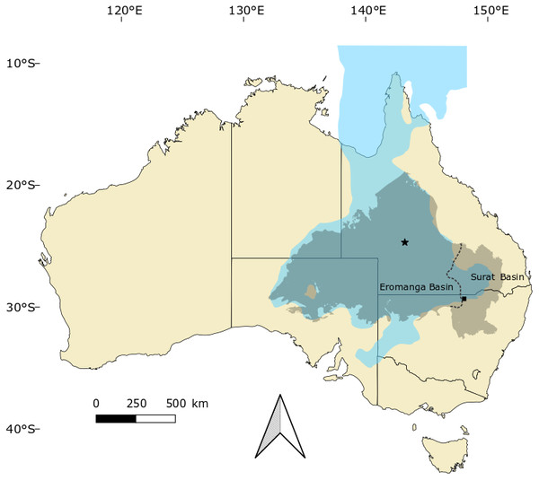 Occurrences of Isisfordia in the Eromanga and Surat basins of Australia.