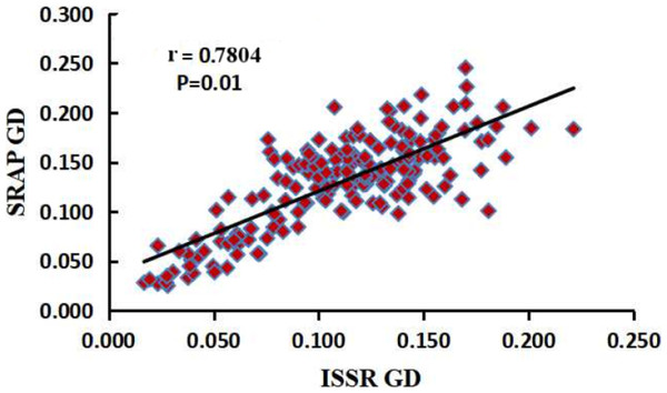 Correlation analysis between the two genetic distances matrices of SRAP and ISSR.