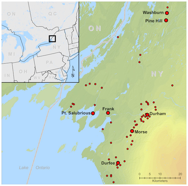 Locations of Iroquoian sites at the headwaters of the St. Lawrence River USA.