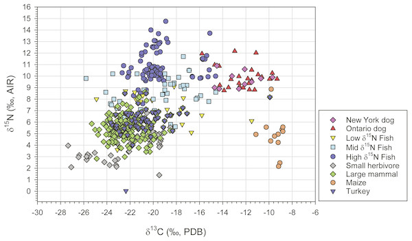 Scatter plot of δ13C and δ15N values for dogs and prey groups used in the seven source Bayesian dietary mixing model.