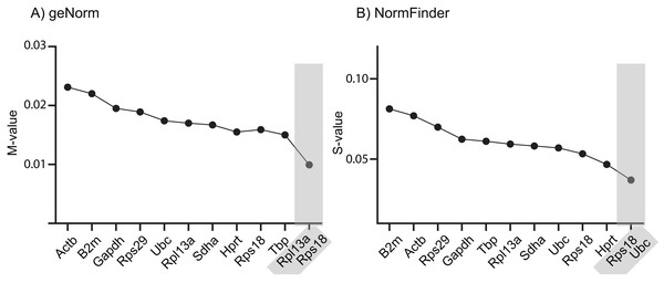 Stability ranking of RGs according to (A) geNorm and (B) NormFinder, including best paired combination.
