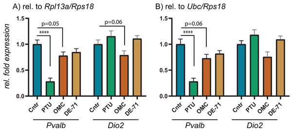 Relative expression levels of Pvalb and Dio2 in cerebral cortex of juvenile male rats after in utero exposure to PTU, OMC, or DE-71 normalized by optimal RG pairs.