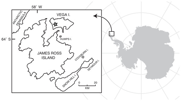 Map of Vega Island, Antarctica, modified from Roberts et al. (2014).