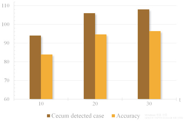 """Accuracy and number of cases when cecum is detected according to """"t"""" values ranging from 10 s to 30 s."""