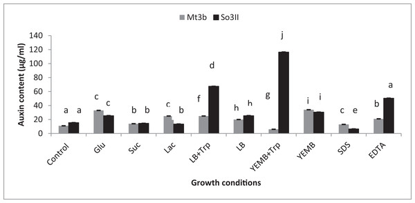 Effect of Carbon source, growth medium, precursor and cell wall affecting substances on biosynthesis of bacterial IAA.