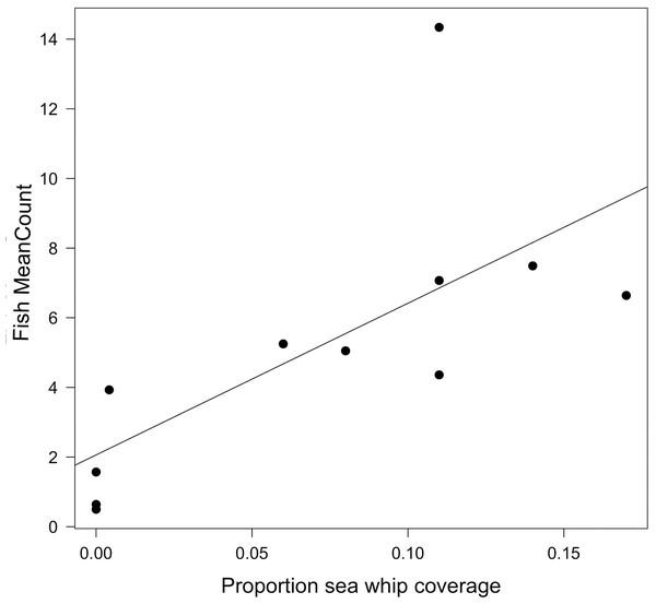 Relationship between fish MeanCount and proportional sea whip coverage.