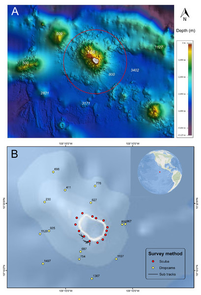 Bathymetry and sampling locations around Clipperton Atoll.