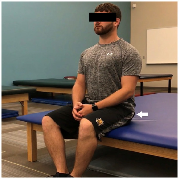 The gluteal squeeze exercise performed with the medial edges of the feet together and knees shoulder-width apart.