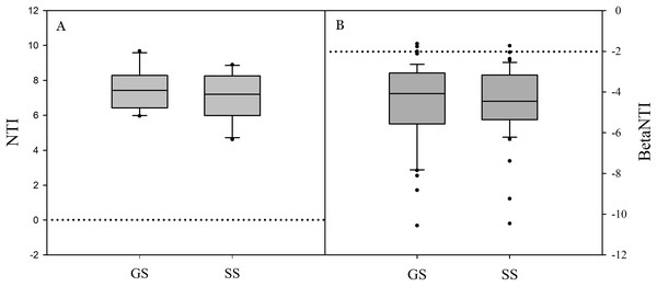 The values of nearest taxon index (NTI; A) and beta nearest taxon index (betaNTI; B) in grassland and shrub-encroached soils.